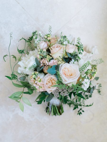 Blush and cream antique rose and peony relaxed wedding flowers bouquet from Fairy Nuff flower for a London wedding