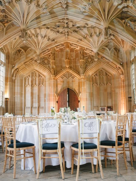 Bodleian Library wedding reception table setting portrait for a chic Oxford wedding