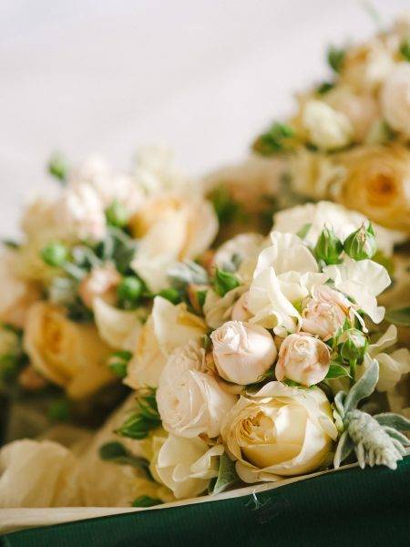 Apricot and cream bouquet wedding flowers for a chic Oxford wedding