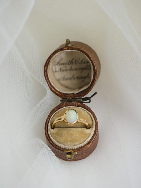 Vintage opal ring in pretty leather box