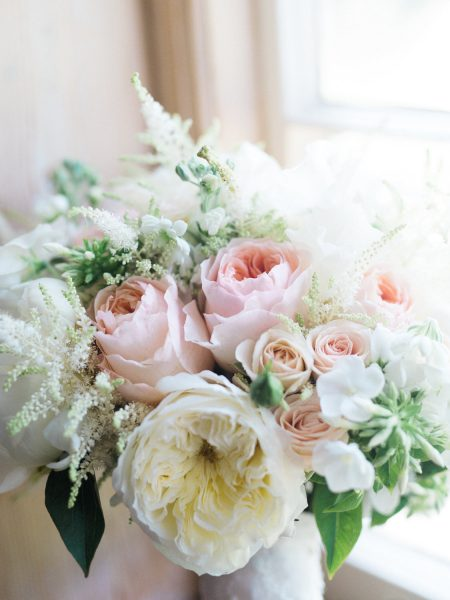Blush peach and cream dreamy rose bouquet