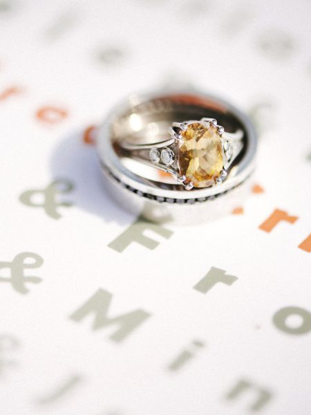 Detail shot of vintage topaz engagement ring on sage and orange invitation a relaxed country back garden wedding
