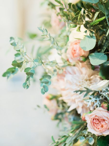 Dreamy blush, apricot and cream florals and eucalyptus foliage from Catkin & Pussywillow Winchester