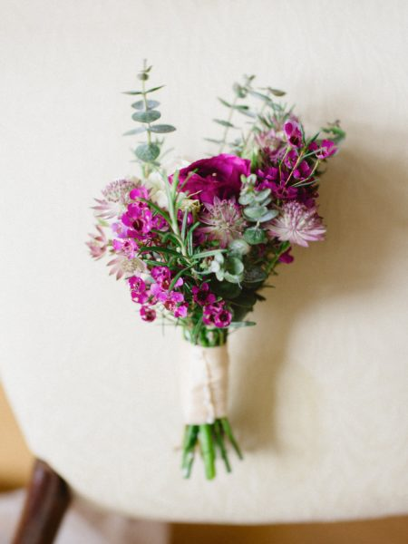Magenta rustic bridesmaid bridal bouquet