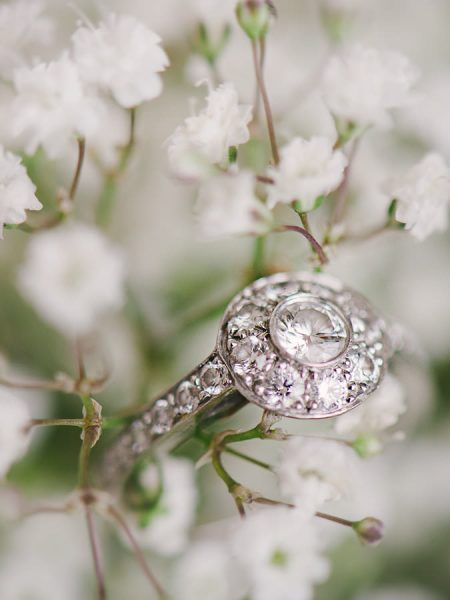Close up of vintage wedding ring in wedding flowers for a London Gherkin wedding