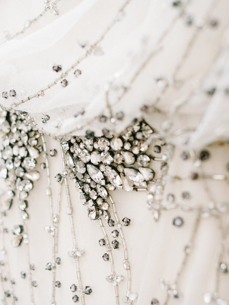 Close up of detailing from Brides Jenny Packham crystal beaded dressr London Gherkin wedding