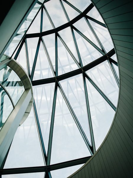 Close up of Gherkin architectural curves London wedding