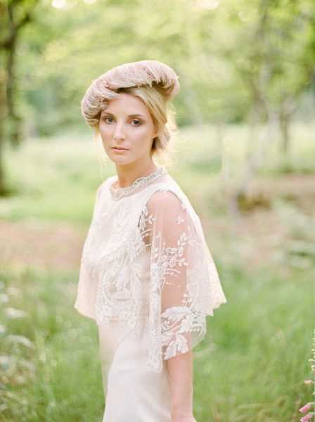Fine Art fuji400h film portrait of a Bride in feature headpiece and boho lace wedding dress sleeves for Tara Bradley-Birt bridal fashion shoot