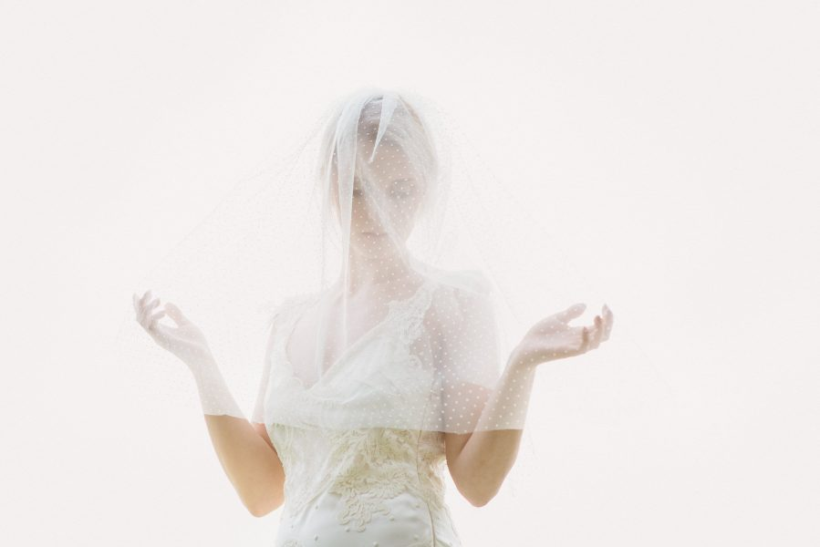 Fine Art editorial veil bridal portrait shot on Fuji 400h film by a Contax 645