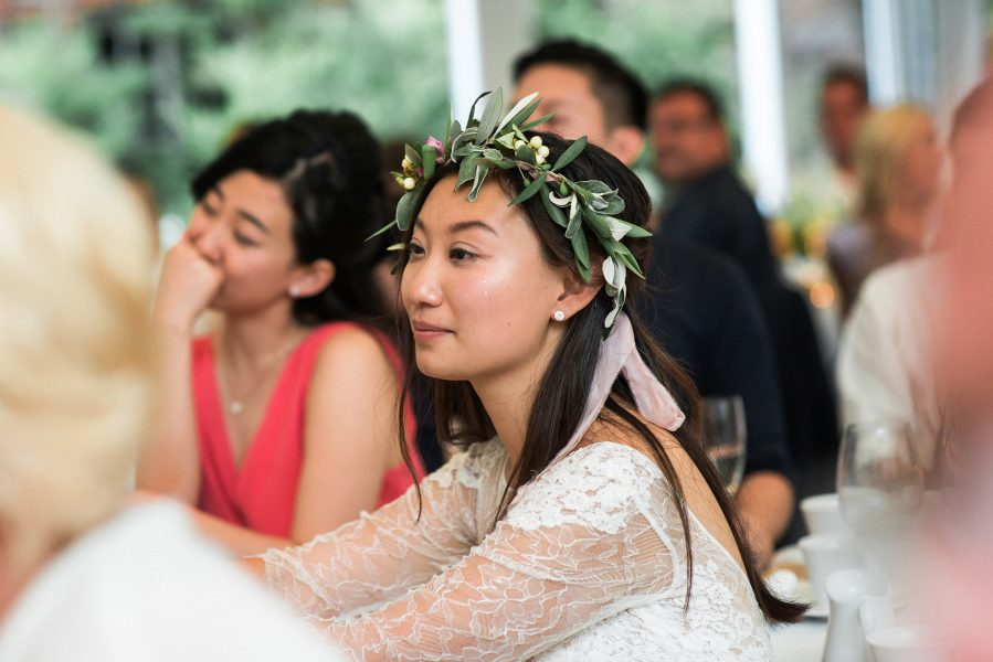 Bride emotionally listens to Groom's speech Fulham Palace London