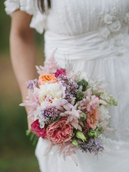 Fine Art Boho forest shoot with rustic bouquet in pinks, coral antique roses and lilac