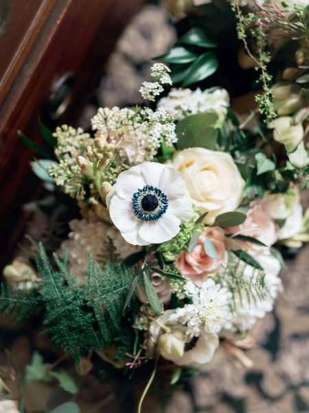 Rustic wedding bouquet flowers in creams and blush including anemones by Catkin and Pussywillow Winchester