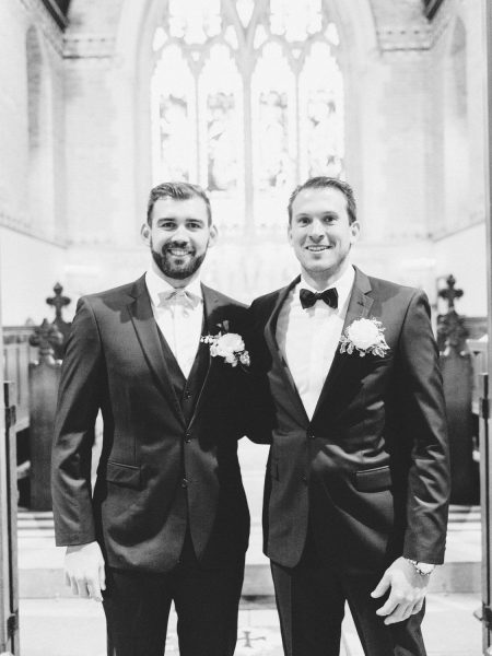 St Johns Baptist Church Groom and Best man portrait inside church