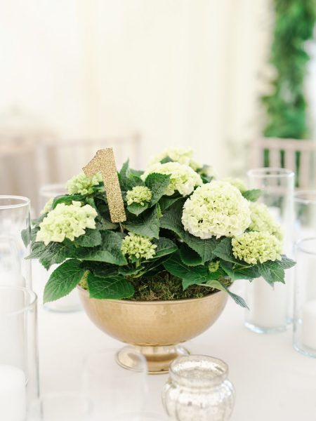 Gold urn with cream hydrangeas and sparkly table gold number