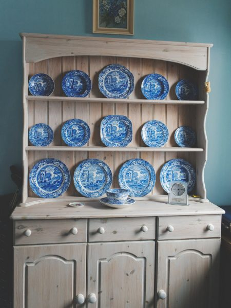 Granny's dresser with blue china plates