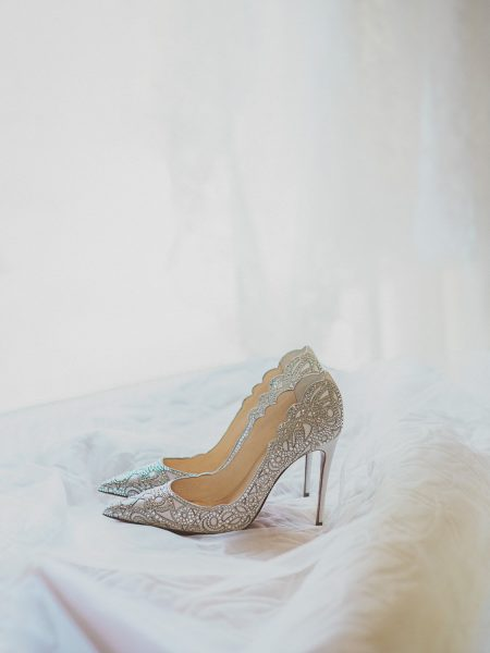 Delicate Silver ad white Louboutin jewelled shoes Algarve Portugal