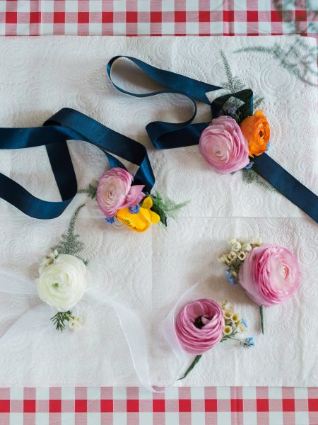 Floral corsages and hair flowers