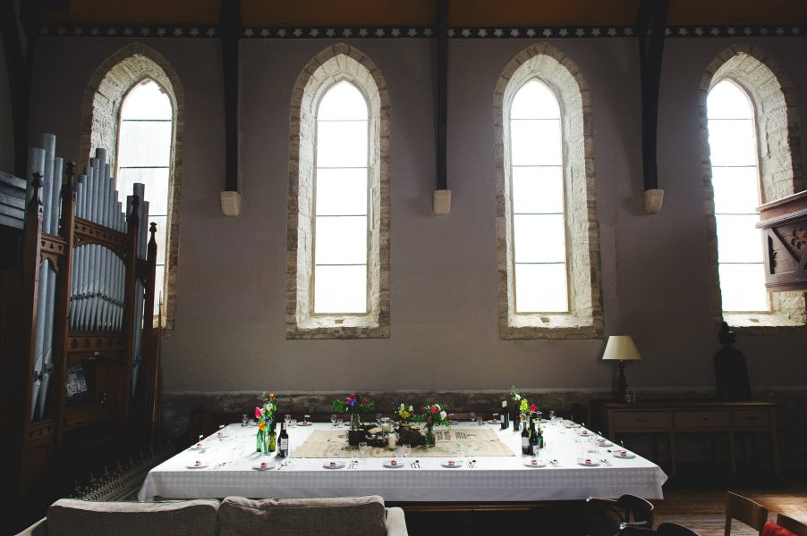 Wedding decor for DIY wedding in converted chapel Stone House Chesil Dorset