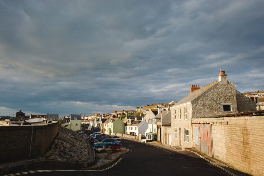 Chesil beach street in evening sunshine