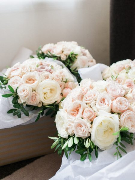 Fine art wedding bouquets in pastel pinks, blush and cream antique roses