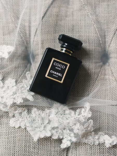 Coco Noir Chanel perfume styled on as wedding veil
