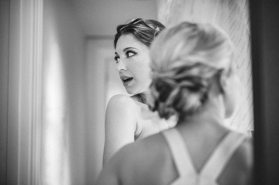 Fine art candid moment of excited Bride pre during bridal preparations at Rosewood hotel London