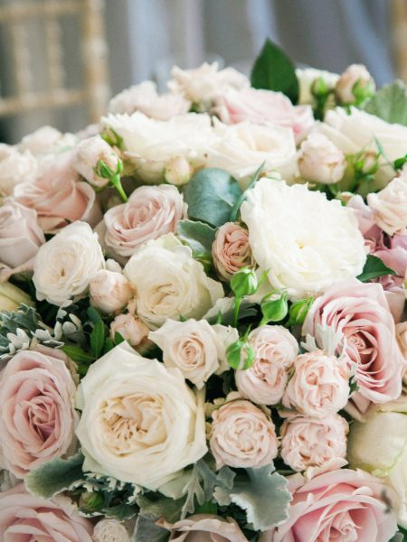 Pastel pink and blush rose centrepiece at Fulham Palace London