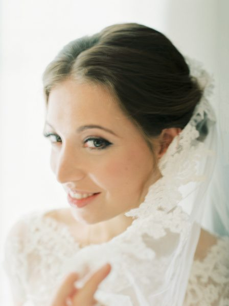 Fine art portrait of bride shot on fuji 400h film at Rosewood hotel London