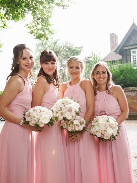 Portrait of Bridesmaids in pink dresses at Fulham Palcae London