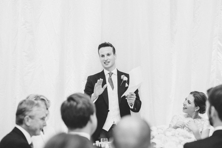 Animated Groom during his speech at Fulham Palace London