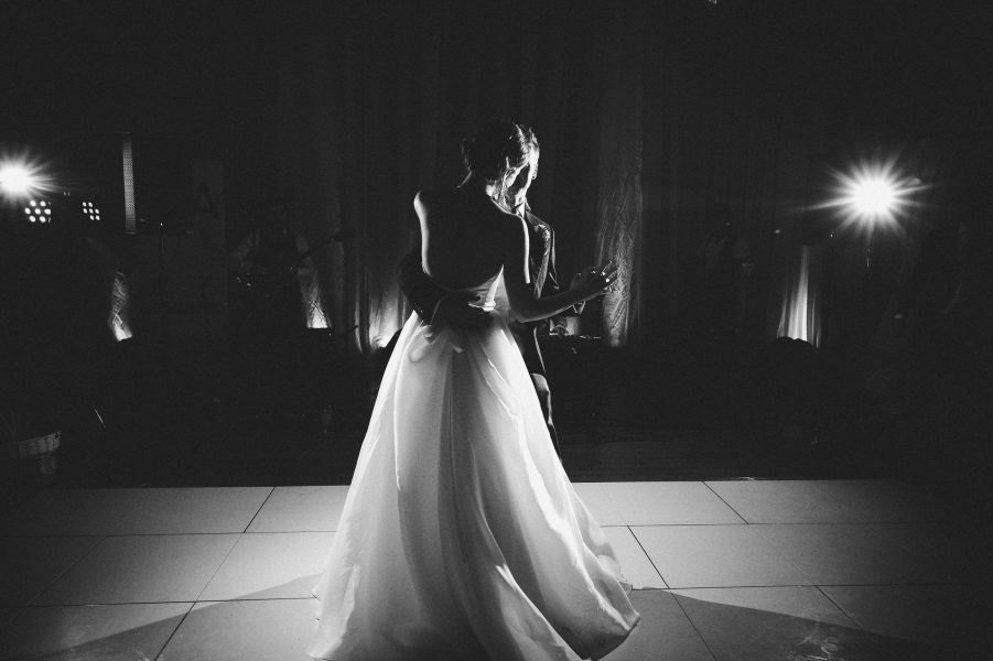 Black and white first dance at Fulham Palace London