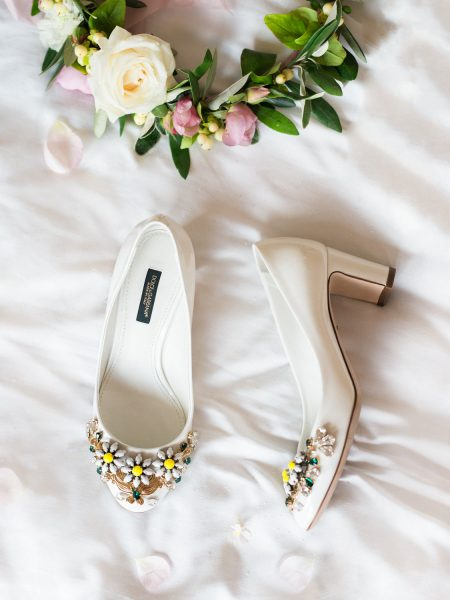 Cream Dolce & Gabbana wedding shoes with daisy jewel embellishment forLondon wedding