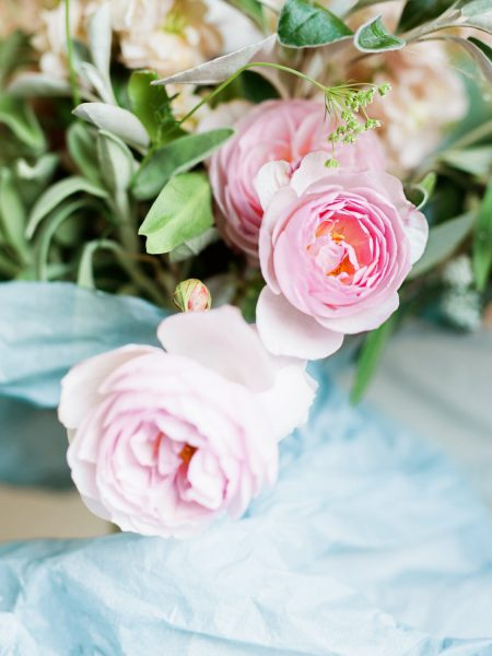 Close up of pastel pink wild roses for a Fulham Palace London wedding