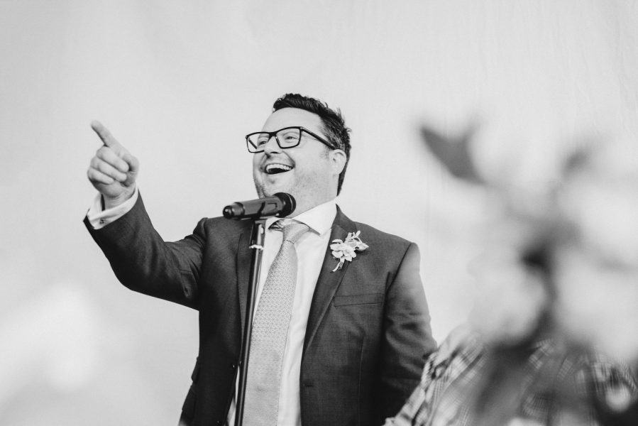 Animated Best Man makes his speech wedding reception Fulham Palace London