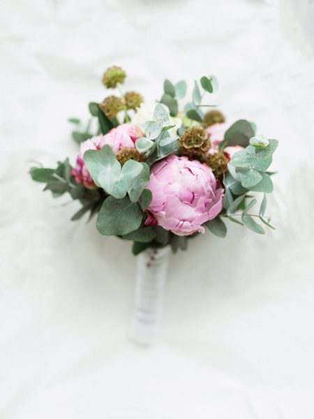 Peony and eucalyptus Bridal bouquet