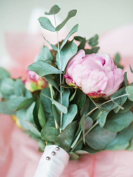 Pink Peony and eucalyptus Bridal Bouquet