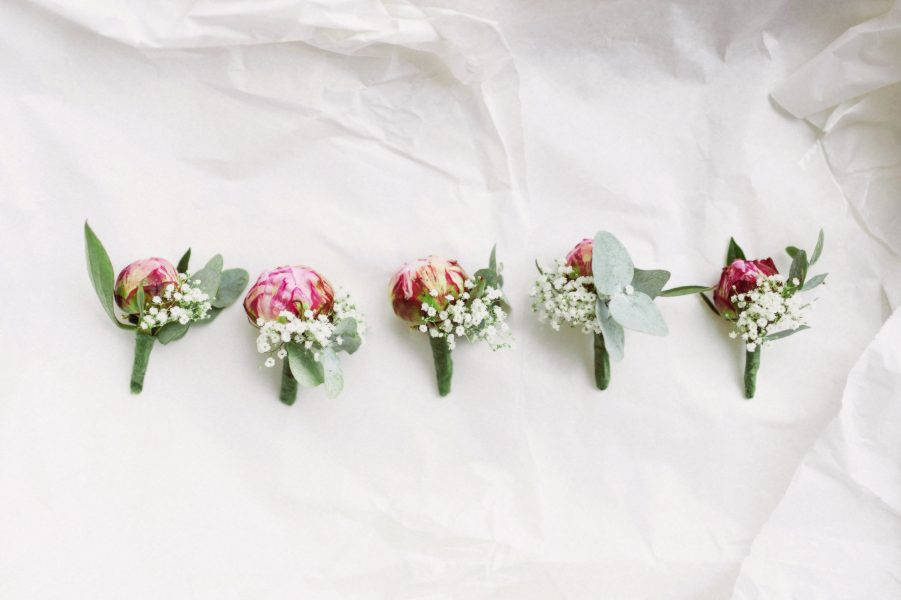 Row of pink peony buttonholes