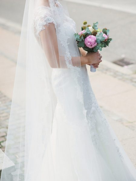 Bride's pink peony and eucalyptus bouquet Sjømannskirken Kong Haakons Kirke