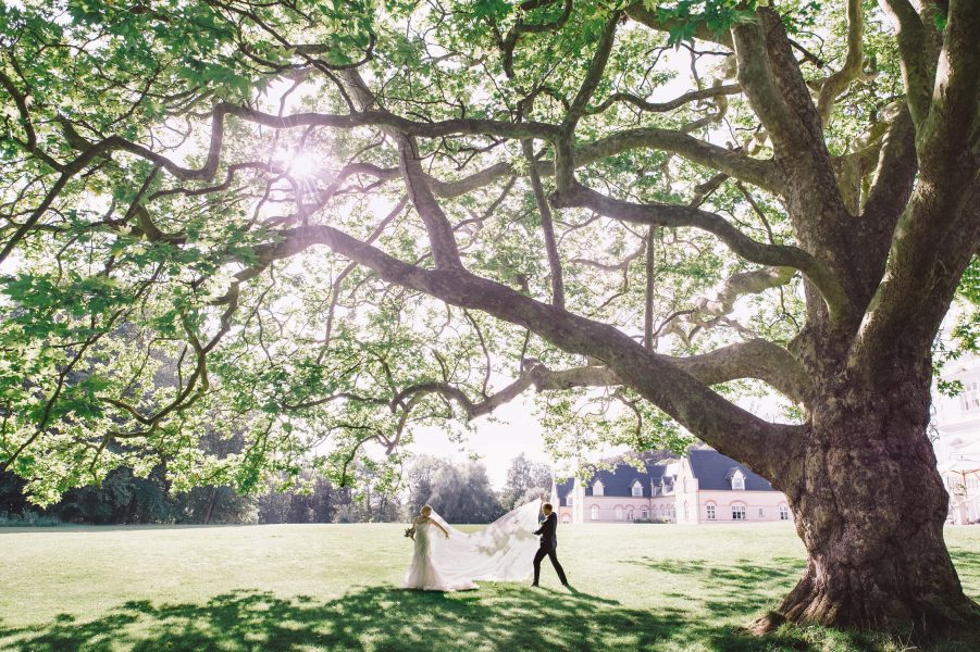 Groom tossing Bride's sunlit veil under huge tree at Kokkedal Slot Copenhagen