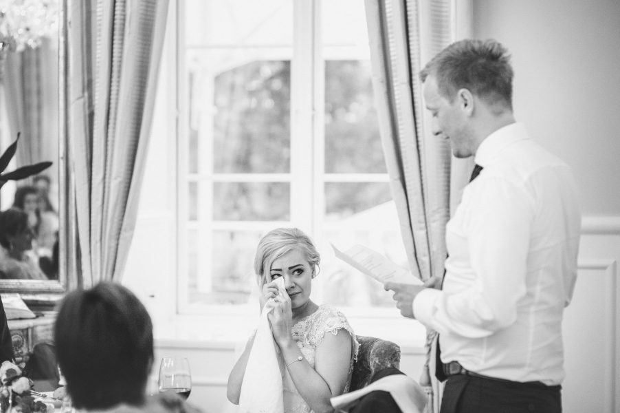 Emotional bride during Groom's speech at Kokkedal Slot Copenhagen