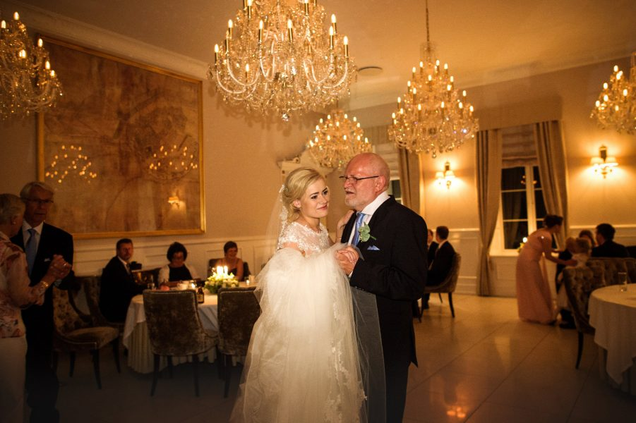 Bride dances with Father of the Bride in elegant ballroom at Kokkedal Slot Copenhagen