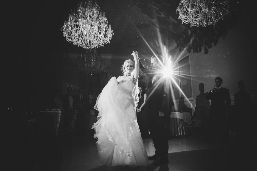 Bride and Grrom's first dance in elegant ballroom at Kokkedal Slot Copenhagen