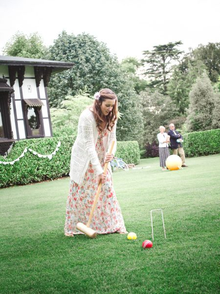 Guests play croquet on the lawn at Larmer Tree Gardens Wiltshire