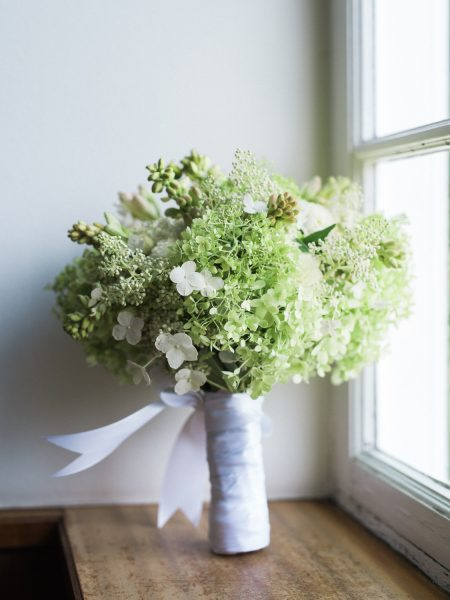 Fresh green bouquet with cream ribbon Sølyst Copenhagen København