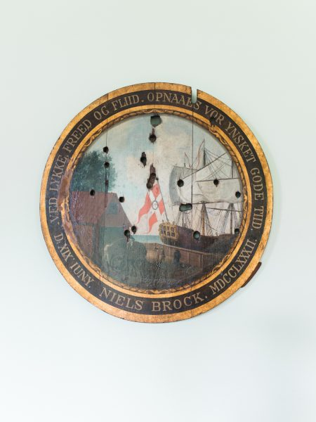 Sølyst wall plaque of old sailing scene with bullet holes Copenhagen