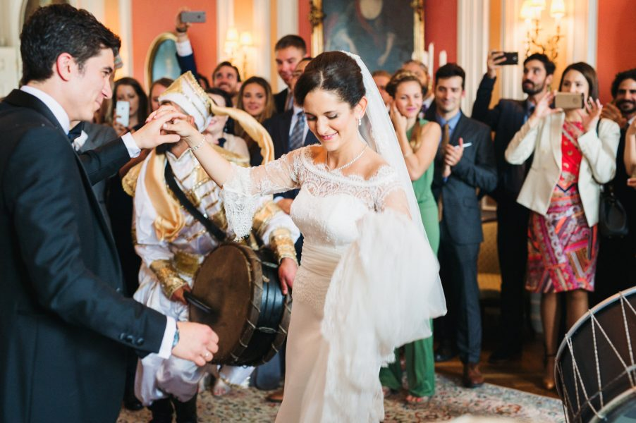 Zaffe drummers play drums down aisle with happy Bride dancing Sølyst Copenhagen