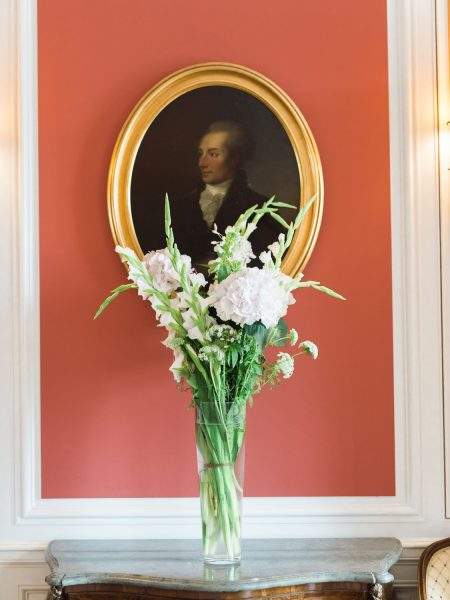 Vase of flowers and oval painting Sølyst Copenhagen