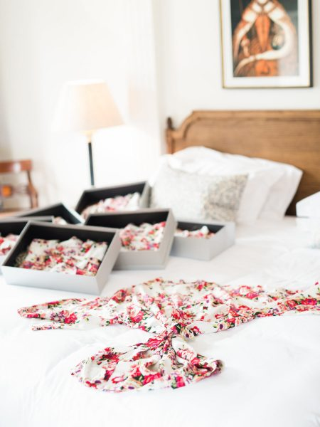 Weston on the Green Oxfordshire bedroom with red floral bridal dressing gowns