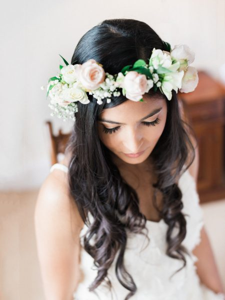 Portrait of Bride in blush rose floral crown by Fabulous Flowers