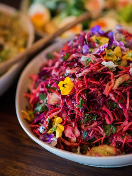 Pansy salad food at Soho Farmhouse wedding Oxfordshire